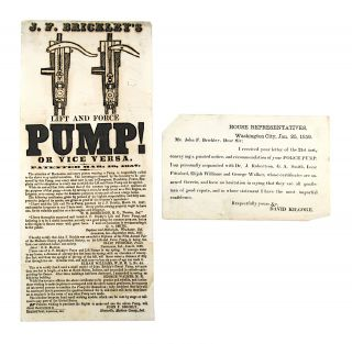 Broadside] J.F. Brickley's Lift and Force Pump! Or Vice Versa. Patented Mar. 10, 1857 [Offered...