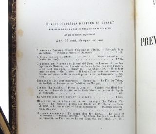 Oeuvres complètes d'Alfred de Musset: Premières Poésies; Poésies nouvelles; Comédies et proverbes I; Comédies et proverbes II; Nouvelles; Contes; La Confession d'un enfant du siècle; Mélanges de littérature et de critique; Oeuvres posthumes [Complete Works of Alfred de Musset: Early Poetry; New Poetry; Comedies and Moral Exempla I and II; Short Stories; Tales; Confession of a Child of the Century; Selection of Literature and Criticism; Posthumous Works] (Nine Volumes)