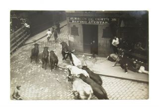Collection of Twelve Real Photo Postcards of the Running of the Bulls in Spain