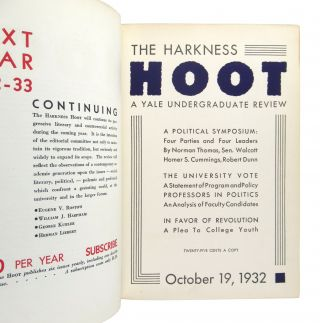 Harkness Hoot: A Yale Undergraduate Review, Volume III 1932-33 [Editor Eugene Rostow's copy; with Signed Autograph Letter from Alistair Cooke]