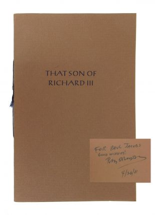 That Son of Richard III: A Birth Announcement [Signed]. Ray Bradbury