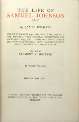 The Life of Samuel Johnson, LL.D. [Limited Edition]