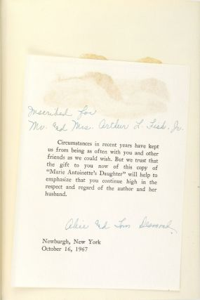 Marie Antoinette's Daughter [Inscribed and Signed Letterpress Note Laid in]